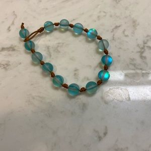 Clear Blue Beaded Bracelet